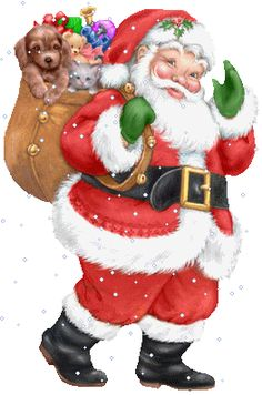 Joyeux Noël - Père Noël, sac cadeaux animaux de peluche