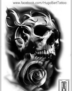 #skull #rose #scary #design #digital #tattoos #skulltattoo #rosetattoo #armtattoo