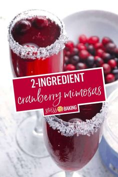 A cranberry mimosa pairs tart cranberries with a sugar-rimmed glass and sparkling champagne bubbles! Cranberry Champagne Cocktail, Cranberry Mimosa, Cranberry Dessert, Champagne Drinks, Cranberry Recipes, Holiday Recipes, Cranberry Bog, Cocktail Drinks, Cocktail Recipes