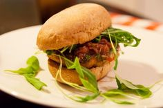 Deliciously hot veggie burgers plus red onion relish and patatas bravas!