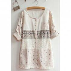 $12.61 Casual Style Scoop Neck Splicing Panda Print Openwork Long Sleeve Shirt For Women