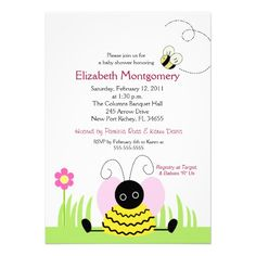 Little Bumble Bee Baby Shower 5x7 Invites