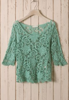 Green Floral Mid-Sleeves Crochet Top - Tops - Retro, Indie and Unique Fashion via @Carelle Varona