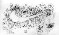 sports shoes de665 46a5e Tshirt art for NIKE USA on Behance Baseball Guys, Doodle Drawings, Doodle  Art,