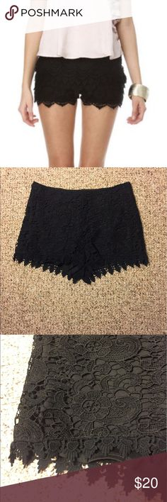Black lace shorts No lowballs please. I am a grad student in Nashville trying to declutter New and/or gently used items. Prices on individual items are pretty firm; however, I offer a 15% discount when 3+ items are bundled :) I'M TRAVELING THE ENTIRE MONTH OF MAY!! ORDER NOW OR YOU'LL HAVE TO WAIT!! 💋 Shorts