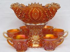 "Carnival Glass: ""Memphis"" Northwood punch bowl in marigold. Gorgeous!"