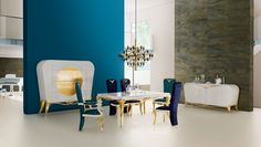 Spacium white, gold and blue dining room  Jetclass   Real Furniture Luxury Interior Design