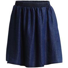 Vila Vipro - Denim Skirt (145 BRL) ❤ liked on Polyvore featuring skirts, bottoms, blue, faldas, lullabies, dark blue denim, elastic waist skirt, circle skirt, denim skirt and blue circle skirt