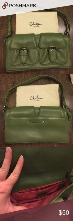 Cole Haan Olive Green Shoulder Bag Olive green with pink lining, magnetic closures on front & back with snap closures on two from pockets. Can fit phone & small wallet inside. Cole Haan Bags Shoulder Bags