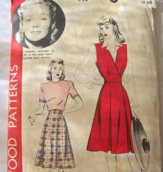 Vintage Ladies Jumper And Skirt Pattern 1930s Hollywood Pattern Jane Wyman Size 14 Sewing Pattern Vintage Sewing Room. Hollywood movie star Jane Wyman on cover.