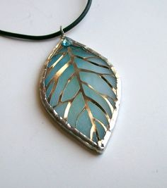 Stained Glass Leaf Pendant Lt Turquoise by CDChilds on Etsy, $16.00