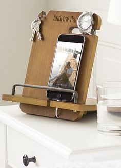 Dark wooden stand  desk accessories  wood iphone dock  apple watch     This wood docking station personalized with a name or initial will keep  everything within arms reach