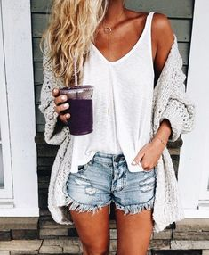Comfy gray cardigan over white tee and denim shorts.