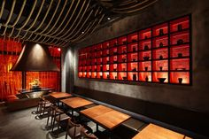 "Completed in 2012 in Shanghai, China. Images by Nacasa & Partners Inc. Designed by Prism Design, the new Kemuro Shanghai Restaurant is inspired in the Kill Bill movies. ""Edo Robata Kimuri"" is a famous restaurant for. Bar Interior, Restaurant Interior Design, Interior Design Companies, Interior Ideas, Restaurant Bar, Oriental Restaurant, Black Restaurant, Chinese Bar, Chinese Design"