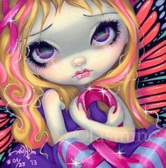 Faces of Faery 177 Jasmine Becket Griffith Art Canvas Print Pink Ribbon Fairy | eBay