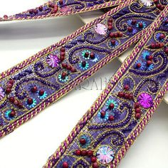 PURPLE PINK RHINESTONE BEADED FABRIC TRIM - sarahi.co.uk