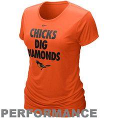 Nike Baltimore Orioles Ladies Chicks Dig Diamonds Orange Performance T-shirt