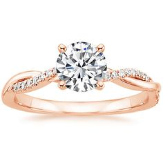 14K Rose Gold Petite Twisted Vine Diamond Ring