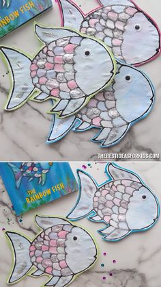 Make this Rainbow Fish Craft made with black glue! This craft is inspired by the Rainbow Fish book by Marcus Pfister. Includes a free rainbow fish template. Fish Crafts Preschool, Rainbow Fish Activities, Rainbow Fish Crafts, Ocean Crafts, Sand Crafts, Toddler Crafts, Craft Activities, Crafts For Kids, Quick Crafts