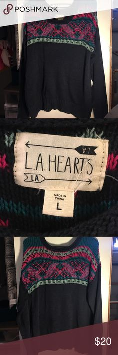 Slouchy, Navy Blue LA Hearts Pacsun sweater-Large Super cozy Pacsun sweater. No tags, but never worn. Very dark navy blue with hot pink, teal, and mint detailing. LA Hearts Sweaters Crew & Scoop Necks