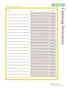 Use This Printable to Keep Up with What You've Canned: Printable Canning Inventory List