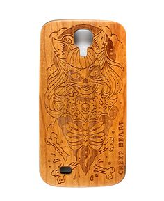 Psycho Kitten Wood Phone Case for Samsung Galaxy S4.  Available online from the Creep Heart store (www.creepheart.com.au).   Artwork by Ella Mobbs.   Laser etching by Vector Etch (http://www.vectoretch.com.au/).