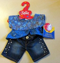 Build A Bear Clothes Justice Blue Lace Outfit Rhinestone Jeans New NWT