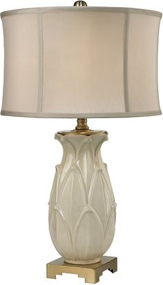 1-Light 3-Way Table Lamp Ivory Glaze Antique Brass - LampsUSA