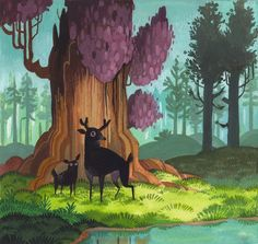 """A little mini-painting I did at a friends house the other night. I was looking at a lot of Eyvind Earle's """"Sleeping Beauty"""" background paintings earlier that day and thought I'd do a little homage to them. That man could paint.  Edit: This is also up for sale in my store if anyone is interested."""