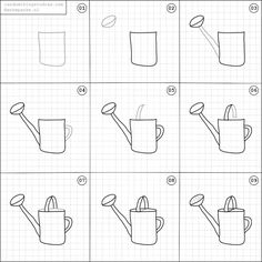 How to draw a watering can.