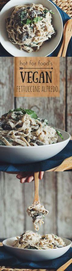 creamy #vegan mushroom fettuccine alfredo | RECIPE on http://hotforfoodblog.com