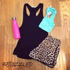 Perfect outfit for summer! Black Tank $14.99 (small & large) Leopard Shorts $28.99 (small & medium) Lace Bra $21.99 (medium & large) 17oz S'well Bottle $36.99 www.bedazzledokc.com #bedazzledokc #boutique #okc
