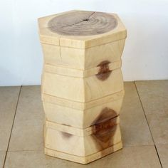 #Thaifurniture carved wood Hex Stool or Stand. Monkey pod wood furnishings in a white finish