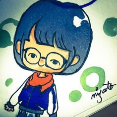 #illustration #イラスト #ぱっつん #自画像 #可愛さ10割増し