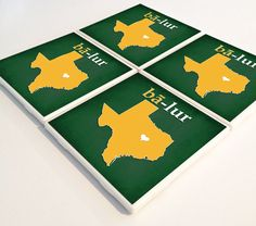"Baylor ""ba-lur"" phonetic ceramic coasters // This would make a great housewarming gift for a Bear!"