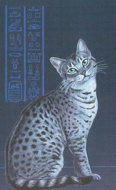 Silver Egyptian Mau, print by Eyedeas on Etsy
