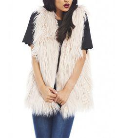 Look what I found on #zulily! Off-White Faux Fur Vest by AX Paris #zulilyfinds