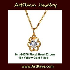 $14.99 1N-24076 Floral Heart Cubic Zirconia 18k Yellow Gold Filled Necklace Listing in the Gold (No Stones),Necklaces & Chains,Fine Jewelry,Jewelry & Watches Category on eBid United States