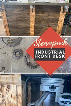 We love the steampunk industrial front desk design of this motorcycle repair shop.  The base is wood with concrete transaction top.  The top has gears cured in it.  The cantilevers to support the concrete top were made from repurposed car parts.