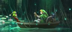 Link and Mamu the frog on the way to the Swamp Temple - The Legend of Zelda: Link's Awakening