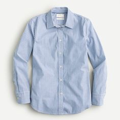 Shop J.Crew for the Slim-fit stretch cotton poplin shirt in stripe for Women. Find the best selection of Women Shirts & Tops available in-stores and online. Wear Test, Crew Shirt, Professional Outfits, Capsule Wardrobe, Office Wardrobe, Cashmere Sweaters, Chambray, Poplin, Mens Tops