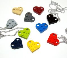 LEGO heart necklaces made with flat plates, sequins and chain.  Find more cool teen program ideas at www.the4yablog.com