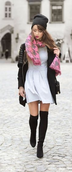 Grey Little Dress , Over the Knee Boots , Pink