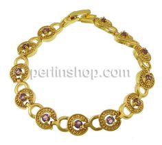 Messing Armband, goldfarben plattiert, mit Strass, andere, frei von Nickel, Blei & Kadmium, 15x9mm, Länge:7 Inch