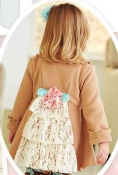 Girls Lace Ruffled Back Coat