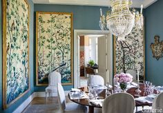Wallpaper panels in large frames. I don't especially love this particular wallpaper pattern, but do love the idea of a more affordable, less permanent way to bring wallpaper into a room in a statement-making way.