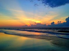Sunrise over the Atlantic Ocean at the beach in front of Wild Dunes Resort, SC