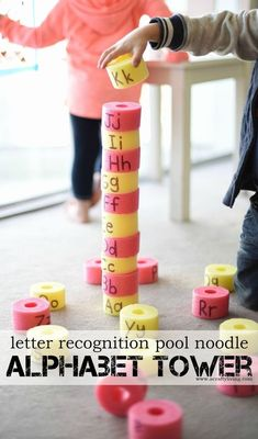 Easy Letter Recognition Pool Noodle Alphabet Tower - Learning through Play for Toddlers & Preschoolers! Preschool Letters, Learning Letters, Preschool Classroom, Toddler Preschool, Preschool Learning Games, Number Games For Toddlers, Games For Preschoolers, Toddler Alphabet, Learning Games For Toddlers