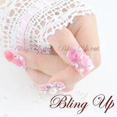 Light Pink Nail Tip with Roses, Pearl Stones and Crystals Rose Nail Art, Flower Nail Art, 3d Nail Art, Art Flowers, Japanese Nail Design, Japanese Nail Art, Bling Nails, Gold Nails, Light Pink Nails
