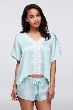 3013d5bd967 Textured satin fabric and lace trim makes this cropped caftan-style top and  tap-short set a luxe option for sleeping and lounging.